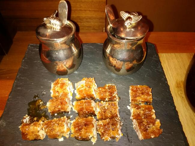 Chunks of Comb Honey. Photo by Linton Chilcott.