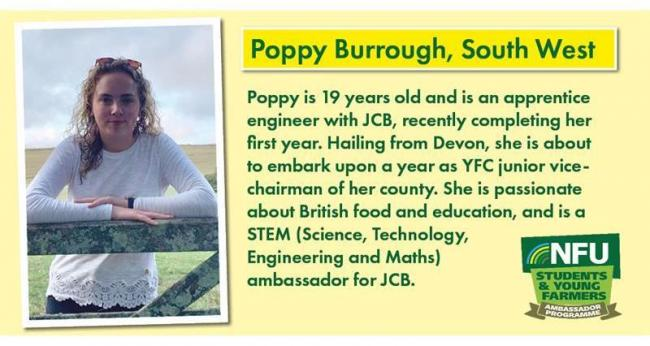 Poppy Burrough from Devon is one of the new NFU Student and Young Farmer Ambassadors