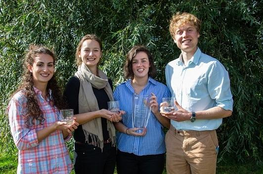 From left to right: Last year's finalists Holly Hills, Rebecca Dodd, Catrin Davies and Henry Miller