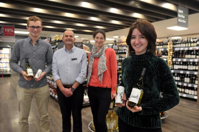 Left to right: Patrick Lane, store manager Adam Withers, Katy Duke, RAU student Hannah Johnson. Picture: Mikal Ludlow