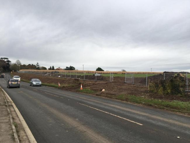 The future access point for 2,000 homes off the A38 in Rumwell (looking east). Picture: Daniel Mumby
