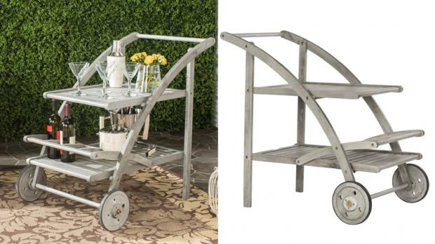 South West Farmer: You can wheel this bar cart around to serve your guests. Credit: Wayfair