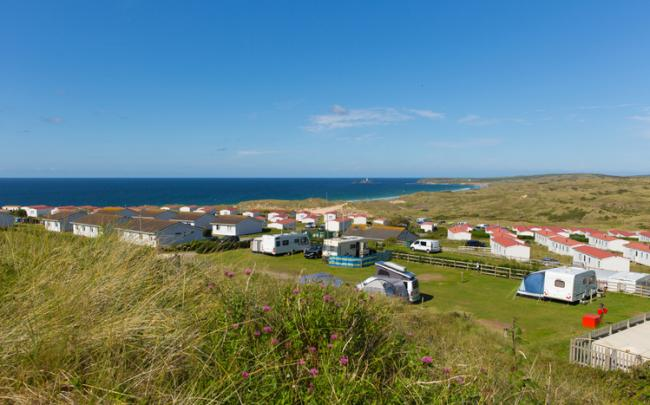 St Ives Bay Cornwall with static caravans and camping in summer