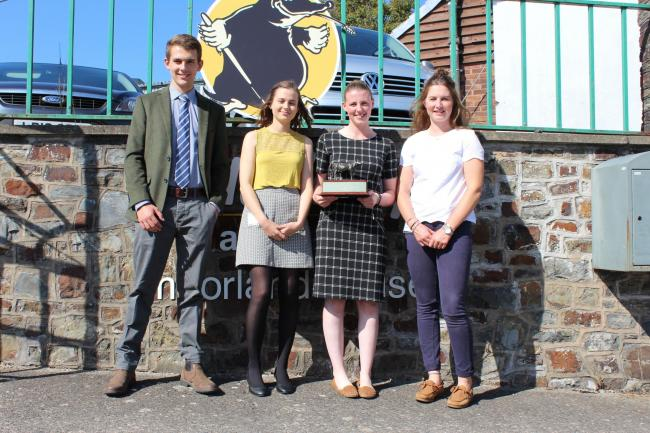 Last year's finalists with Sophie Bould-Lynch from Devon, proudly holding the Bronze cow, which was presented to her along with £2,000