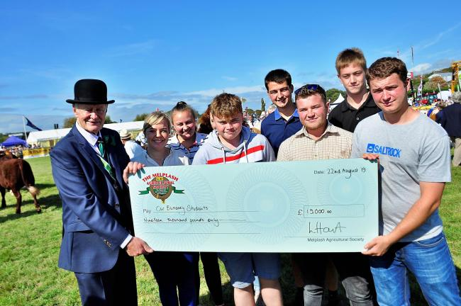 Last year's bursary winners with Melplash Agricultural Society president Tim Frost