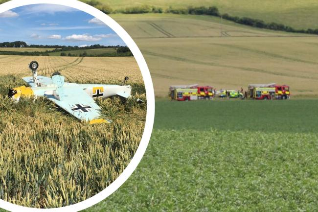 First picture of replica WW2 fighter plane that crashed into field of wheat near Swindon