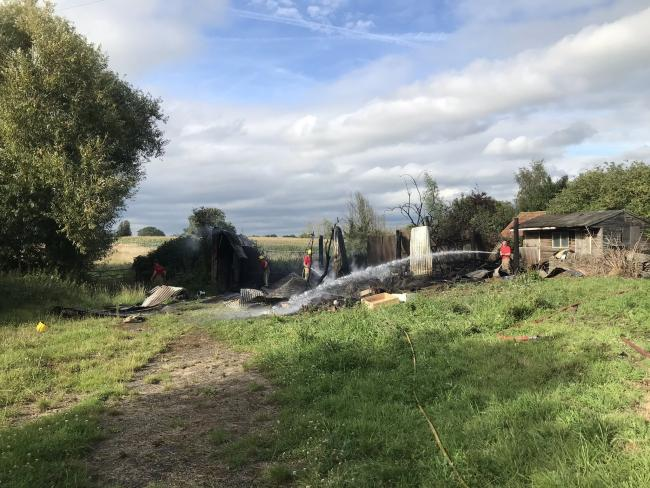 The barn fire in Winterbourne on Thursday. Picture: Avon Fire and Rescue Service