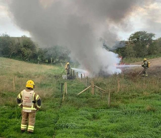 The scene at Winterbourne Steepleton. Picture: Dorchester Fire Station