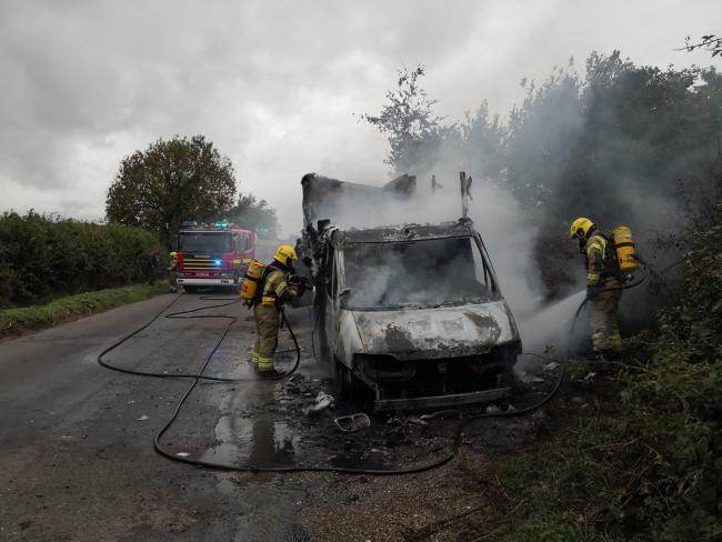 Firefighters at work on the horse box. Picture: Cranborne Fire Station