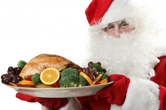Stock image: 'Santa' with Christmas meal