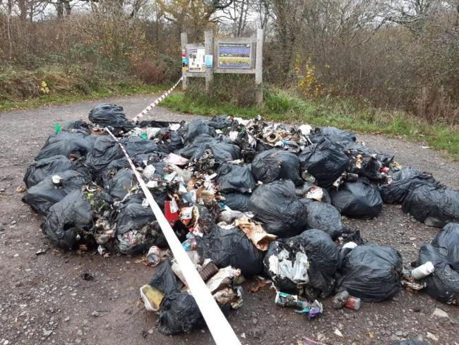 Fly tipping at Powerstock Common nature reserve. Picture: Lucy Ferris