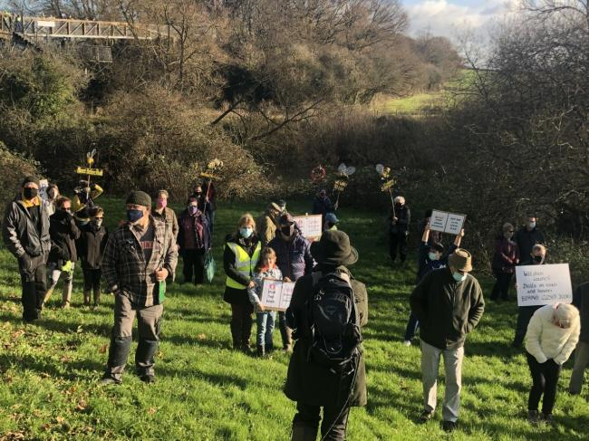 Residents protesting theA350 Chippenham plans