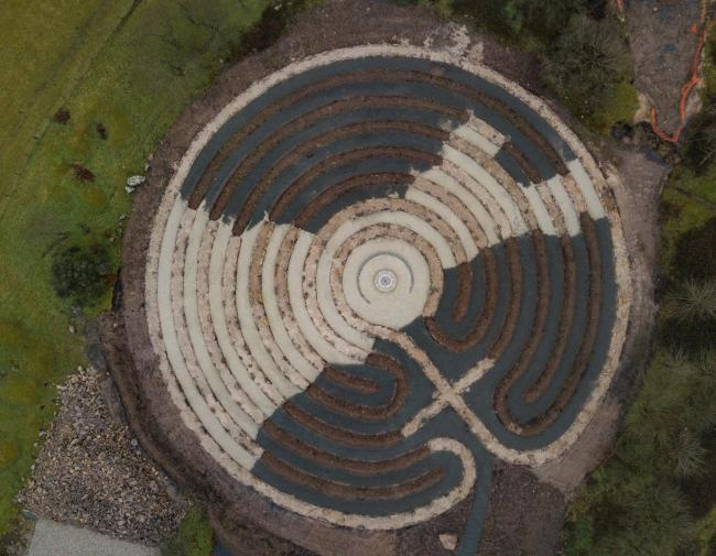 A drone image showing the huge labyrinth