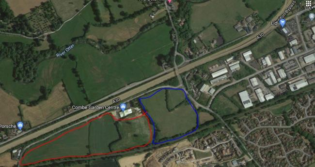 Hayne Lane site in Honiton - land in blue owned by EDDC and in red owned by Combe Estates