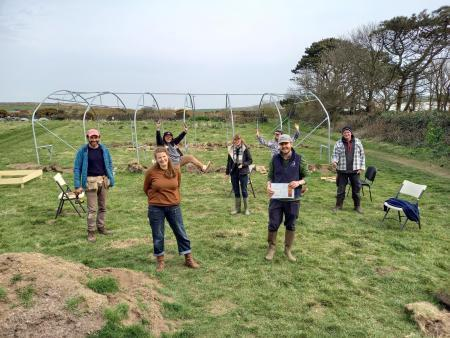Giles Rickard (front right) with the participants and staff at Bosavern Community Farm's soil health session