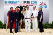 2016 Borderway UK Dairy Expo Champion of Champions Illens Atwood Australia From left; Izzy Wright, Ann Laird, Colin laird, Alister Laird & Cathleen Laird