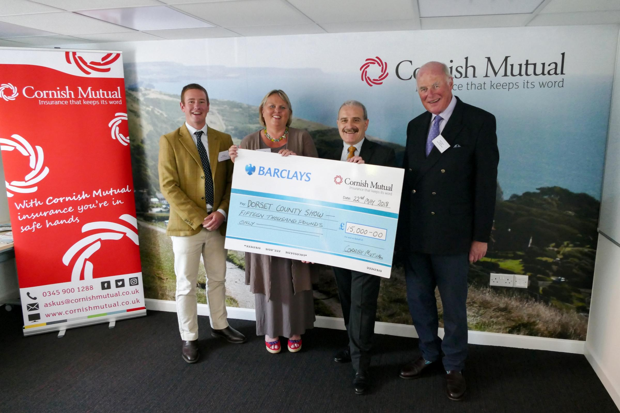 (L-R) Will Hyde (Show Secretary), Rebecca Hill (Chair of Dorchester Agricultural Society), Alan Goddard (Managing Director of Cornish Mutual) and Alastair Cowen (President of Dorchester Agricultural Society)