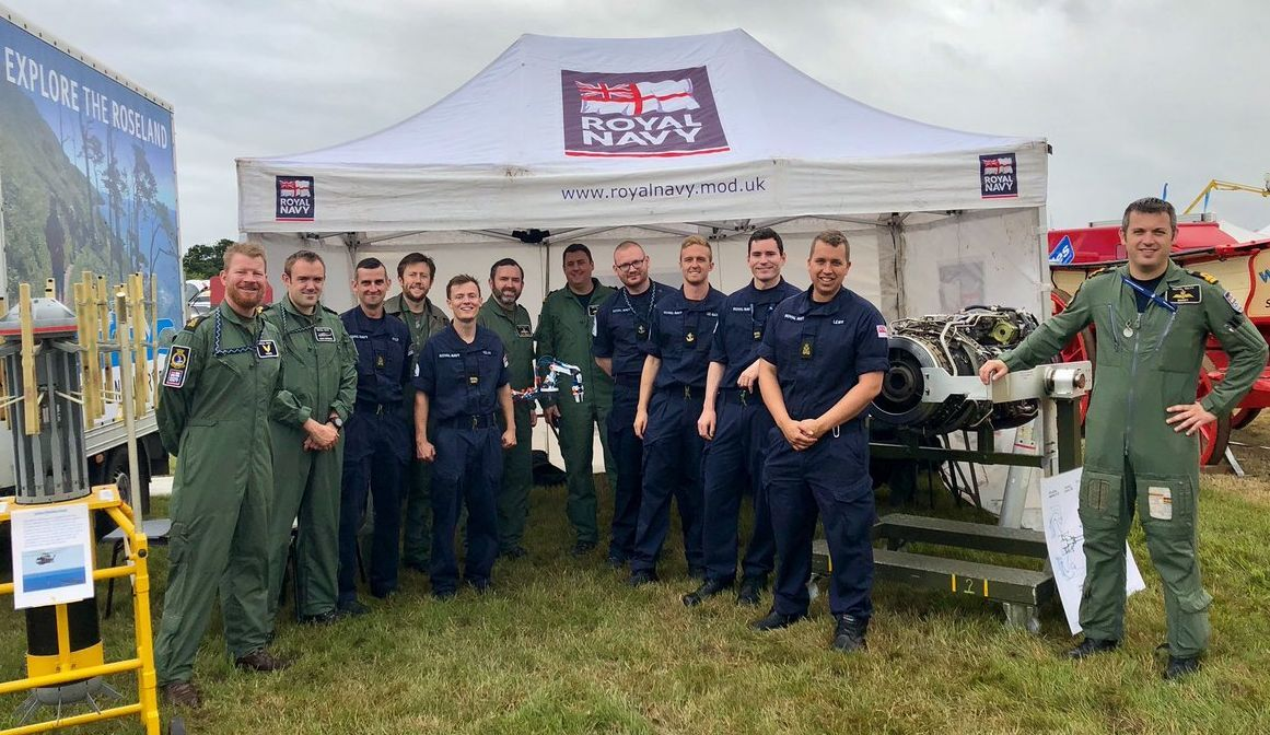 Sailors from 824 squadron at RNAS Culdrose are showing visitors engineering kit and equipment at the Royal Cornwall Show