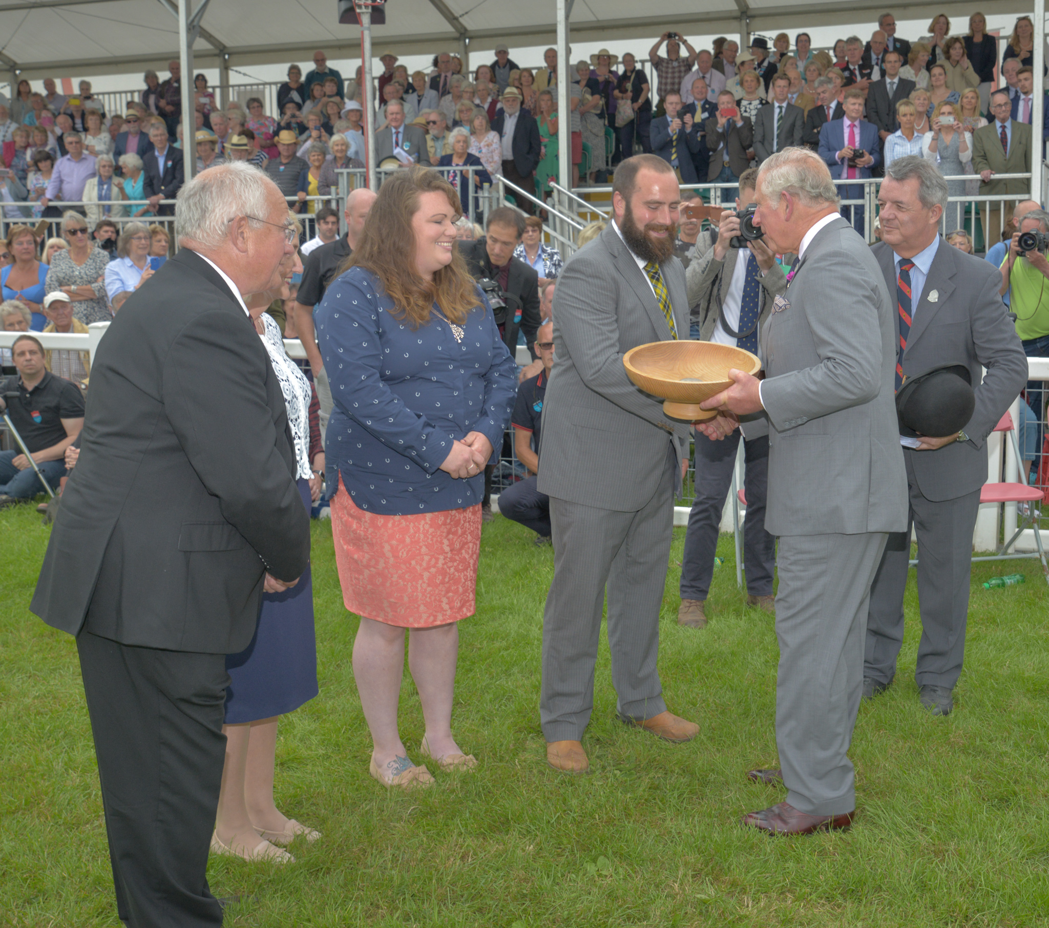 last year's Duke of Cornwall Award winners, the Flindall family from Chypraze Farm in West Cornwall being presented their award by His Royal Highness The Duke of Cornwall at last year's Royal Cornwall Show