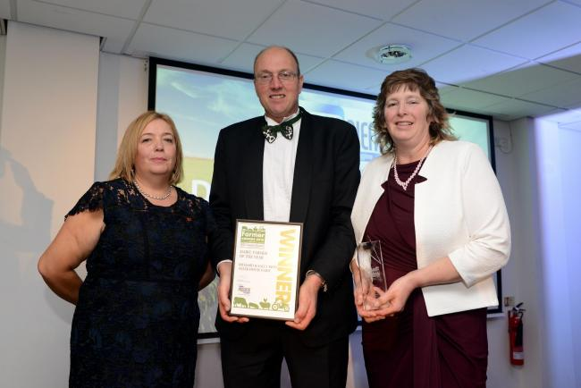 The South West Farmer Awards 2018. Pictured Alison Clark from Progiene Dairy Hygiene with the Winners of Dairy Farmer of the Year Richard and Sally Reed from Aller House Farm.
