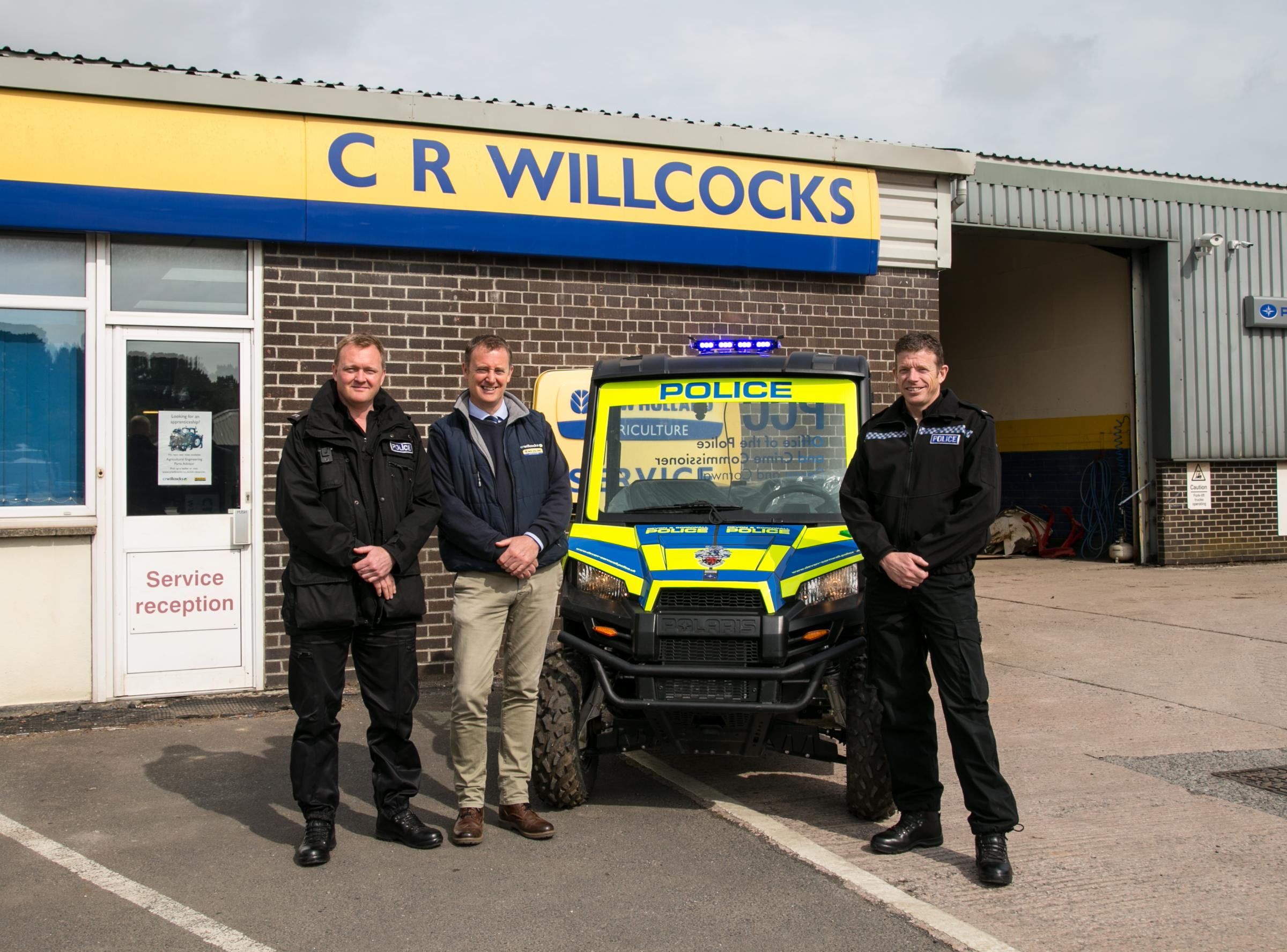Left to right: PC Martin Beck (Devon and Cornwall Police Rural Crime Officer), Stephen Retallick (Sales Director at CR Willcocks) and PC Chris Collins (Devon and Cornwall Police Rural Crime Officer).