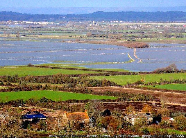 Somerset Levels : Lower Burrow and flooding on West Moor