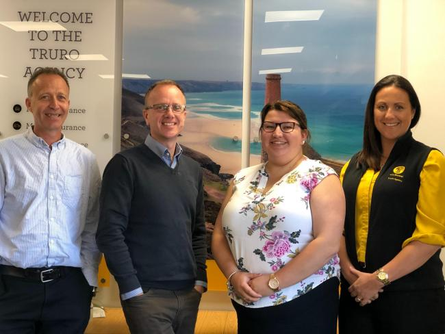 Left to right: NFU Mutual Truro agents Alistair Murdoch and Paul Hawkins, customer service adviser Rachael Benney, and agency manager Lisa Hitchens